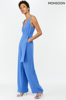 Monsoon Ladies Blue Josefina Plain Jumpsuit