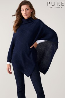 Pure Collection Blue Textured Poncho