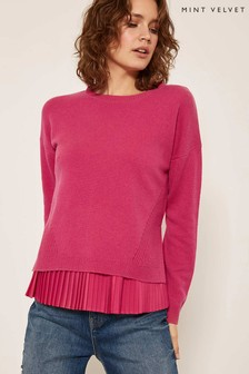 Mint Velvet Pink Pleated Woven Layered Knit
