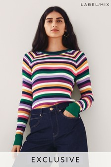 Mix/Madeleine Thompson Stripe Skinny Rib Jumper