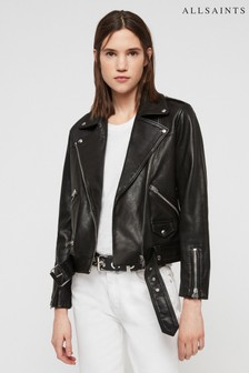 AllSaints Black Esta Leather Biker Jacket