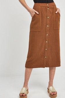 Utility Pocket Button Midi Skirt