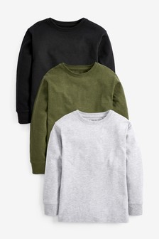3 Pack Long Sleeve Cosy T-Shirts (3-16yrs)