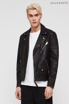 AllSaints Black Leo Leather Biker Jacket