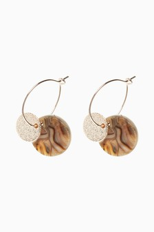 Tortoise Shell Effect Disc Earrings