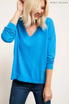 Mint Velvet Blue V-Neck Boxy Knit