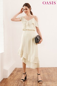 Oasis Natural Spot Mixed Asymmetric Frill Dress
