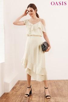 שמלת קפלים אסימטרית עם הדפסי נקודות של Oasis בצבע טבעי