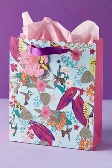 Silver Floral Gift Bag
