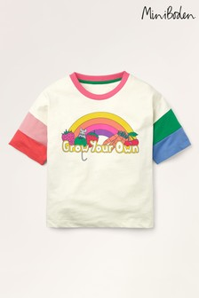 Mini Boden Ivory Rainbow Sleeve T-Shirt