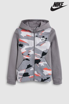 Nike Grey Camo Zip Through Hoody