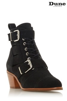 Dune London Black Two Buckle Cut-Out Boot