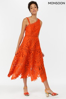 Monsoon Ladies Maria Midi-Spitzenkleid mit Palmendesign, Orange