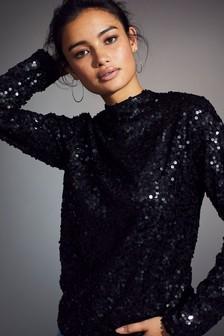 Long Sleeve Sequin High Neck Top
