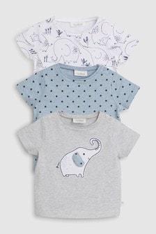 大象印花T恤三件裝 (0個月至2歲)