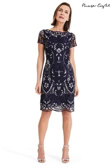Phase Eight Blue Lizzy Embroidered Dress