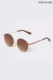 River Island Brown Fade Gold Frame Sunglasses