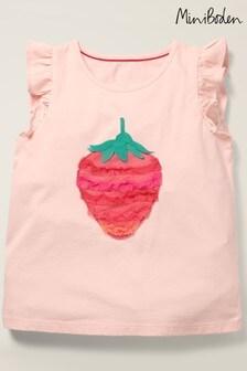 Mini Boden Pink Flutter Tulle Appliqué Top