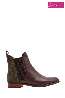 Joules Green Check Westbourne Leather And Tweed Boot