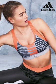 adidas Grey/Orange Animal Print Don't Rest Bra