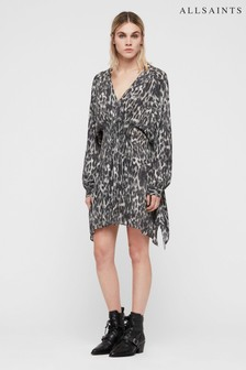 All Saints Charcoal Leopard Nichola Dress