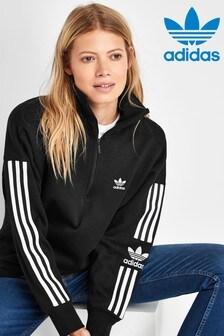 adidas Originals Black Lock Up 1/4 Zip Sweat Top