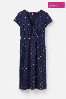 Joules Blue Jude Jersey Fun Spot French Navy Wrap Dress
