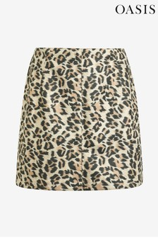 Oasis Animal Faux Suede Leopard Mini Skirt