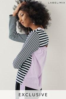 Next/Mix Stripe Cut-Out Back T-Shirt