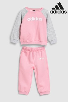 adidas Baby Light Pink Linear Crew Set