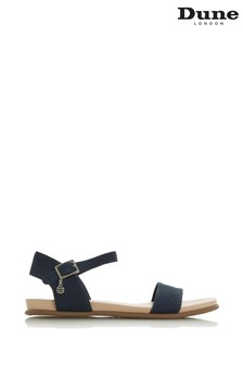 Dune London Navy Leather Londonerr Softee Flat Sandals