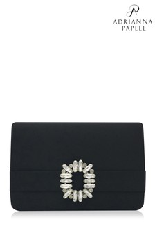 Adrianna Papell Black Kittie Jewelled Envelope Clutch