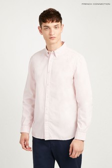 French Connection Dusty Peach Overdyed Poplin Regular Fit Shirt
