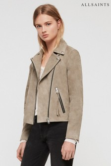 AllSaints Khaki Dalby Suede Leather Biker Jacket