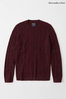 Abercrombie & Fitch Burgundy Cable Crew Jumper