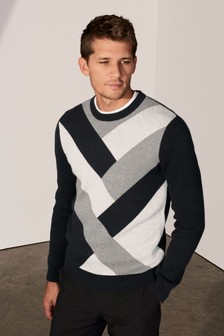 Pattern Block Crew Neck Jumper