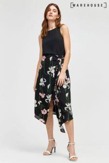 Warehouse Black Tiger Lily Wrap Midi Skirt