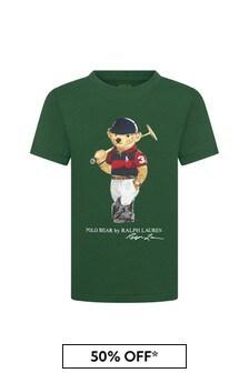 Ralph Lauren Kids Boys Green Cotton T-Shirt
