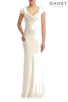 Ghost London Cream Sylvia Satin Maxi Dress