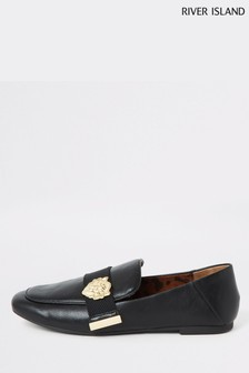 River Island Black Hardware Loafer
