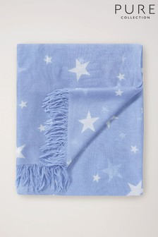 Pure Collection Blue Ultra Soft Printed Scarf