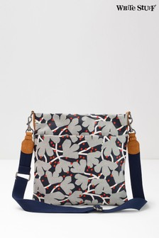 White Stuff Blue Floral Coated Canvas Cross Body Bag