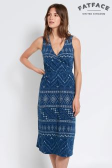 FatFace Indigo Blair Tribal Batik Dress