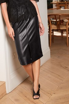 Faux Leather PU Midi Skirt