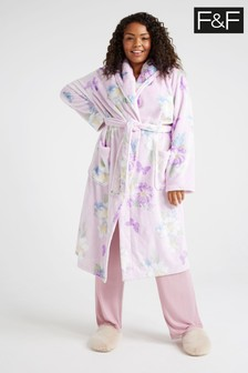 F&F White Floral Robe