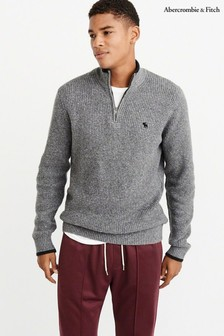 Abercrombie & Fitch Grey Icon Half Zip Sweater