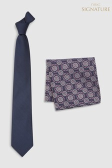 Signature Tie With Pattern Pocket Square Set