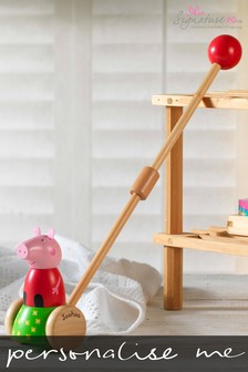 Personalised Peppa Pig™ Wooden Push Along by Signature PG