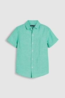Рубашка из смеси льна с короткими рукавами (3-16 лет)