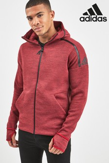adidas Z.N.E Maroon Prime Knit Zip Through Hoodie